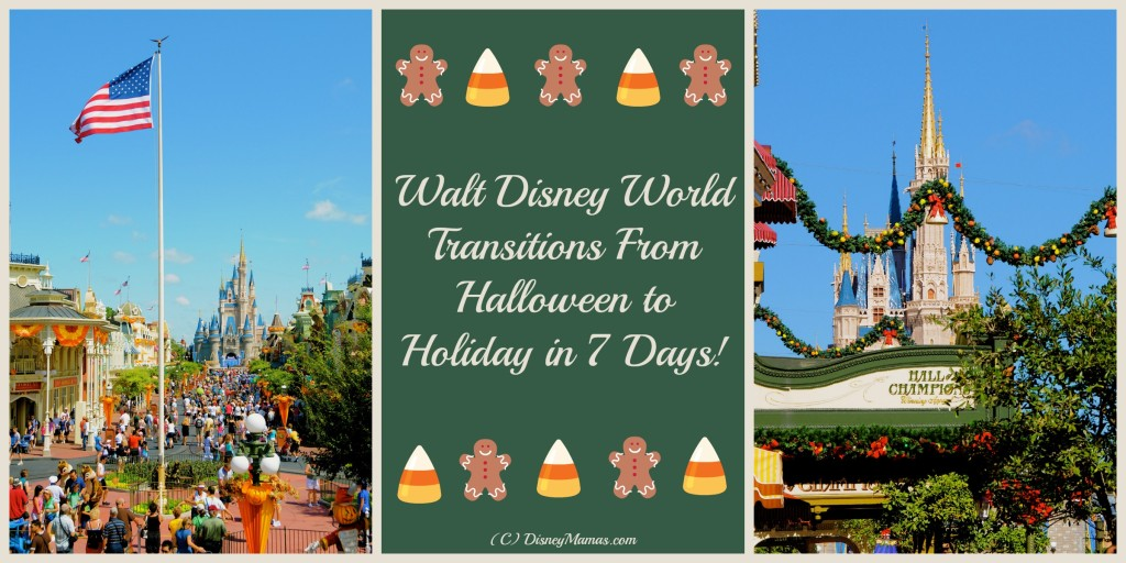 Walt Disney World changes from Halloween to Holiday in about a week!