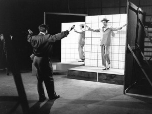 "Buddy Ebsen dancing in front of a grid to assist in the creation of ""Project Little Man."""