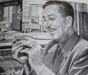 Walt with the model for Granny's Cabin in So Dear to My Heart