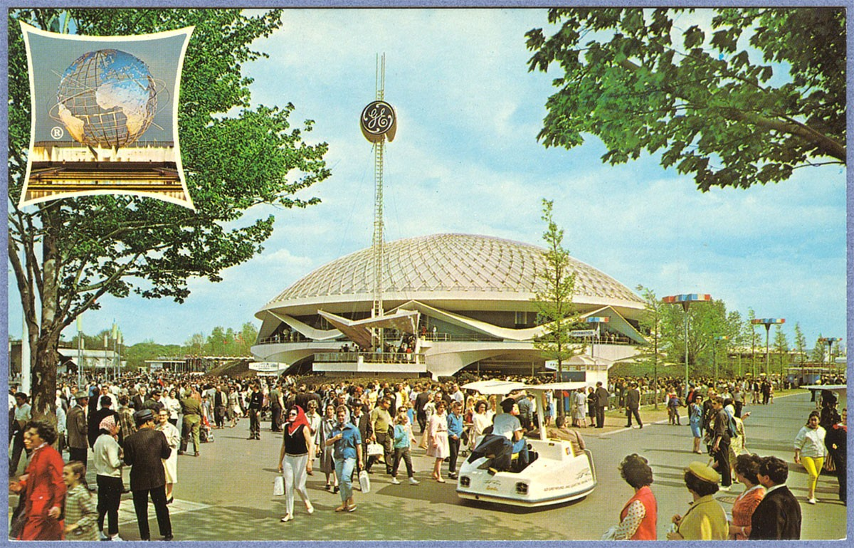 "General Electric's ""Progressland"", where an audience seated in a revolving auditorium - a circle of six theaters, all connected by divider walls, revolved clockwise around six fixed stages every four minutes - viewed an Audio-animatronic presentation of the progress of electricity in the home. The Sherman Brothers composed the catchy ""There's a Great Big Beautiful Tomorrow"" for this attraction."