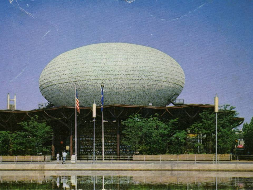 The spheroid shaped IBM pavilion.