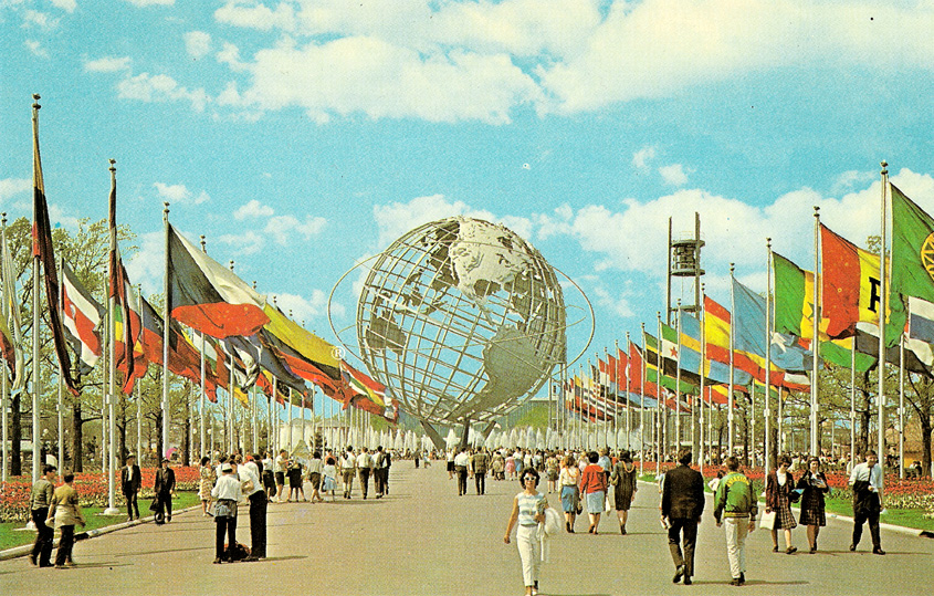"The fair was dedicated to ""Man's Achievement on a Shrinking Globe in an Expanding Universe"" which was symbolized by the 12-story high, stainless-steel model of the earth called the Unisphere – which still stands in Flushing Meadows-Corona Park, Queens, NY."