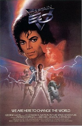"""Captain EO"", which replaced ""Magic Journeys"" on 1986.  For this 3-D film, Disney added special effects to the theater that enhanced the film and created a full environment.  This led the way for the next generation of multi-sensory films in which we get sneezed upon, shot at, attacked, and fumigated, etc."