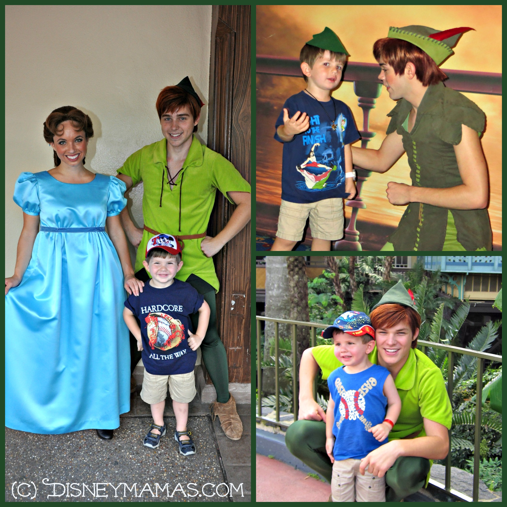 Character Interactions are one of the greatest thing about visiting a Disney Destination, especially when the characters are full of personality and enthusiasm.  Connor with his hero, Peter Pan.