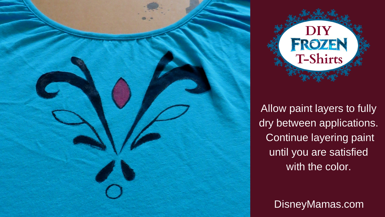 DIY Frozen T-Shirts. Layer paint until you reach desired color.