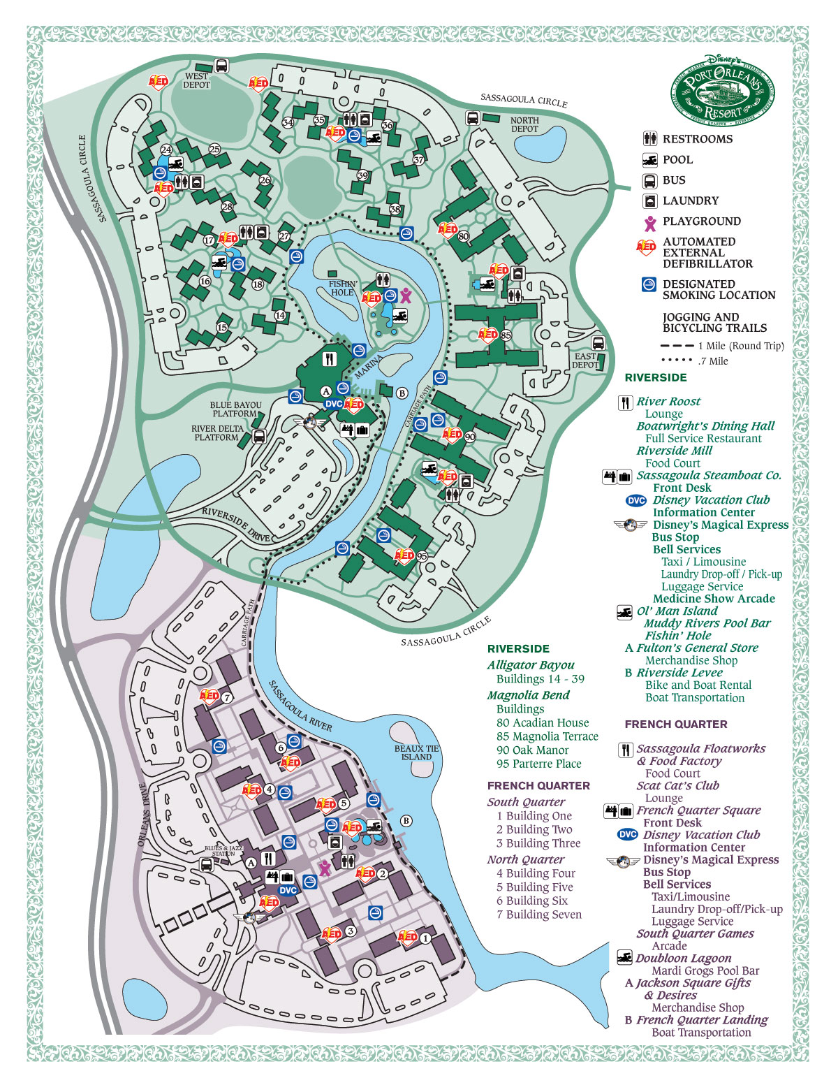 Map of Disney's Port Orleans Resorts.  French Quarter is the smaller, lower section while Riverside is the larger section at the top.