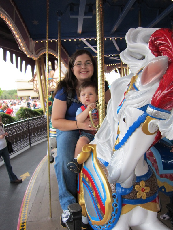 We take a traditional photo on King Arthur's Carousel every single trip. This is my son Connor's first ever ride on a King Arthur's Carousel!