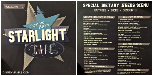 Dietary Needs Menu at Cosmic Ray's