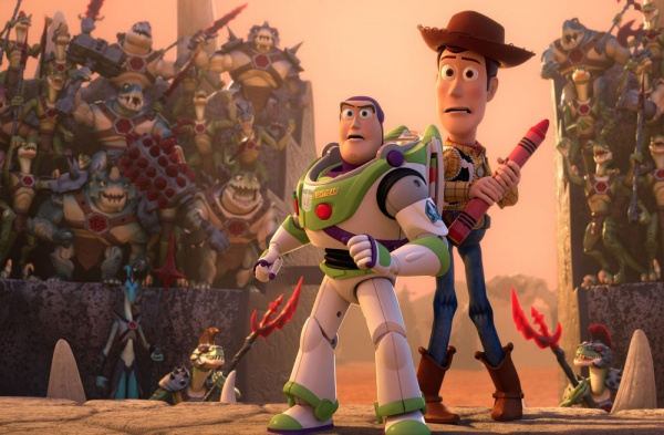 Buzz and Woody must enter the battle ring in Toy Story That Time Forgot
