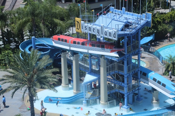 At Disneyland Hotel, the Monorail Slides and Pool area are fun for the whole family.