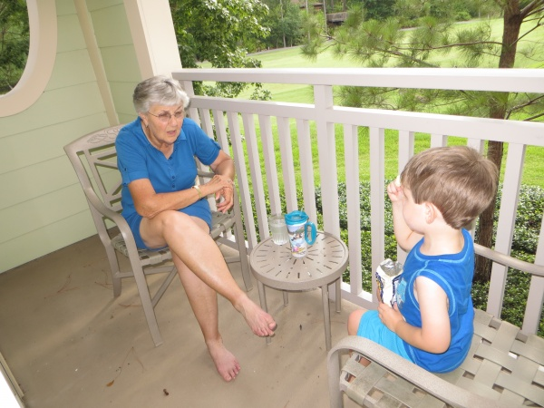 Chatting it up with Nana on the balcony at Saratoga Springs Resort & Spa